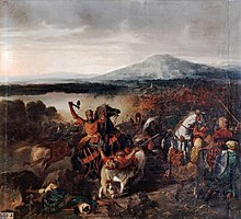 Painting of mounted battle