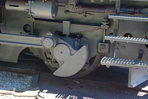 Coupling rod - Counterweight on a small outside-frame dual-mode electro-diesel locomotive, a Swiss Tem II shunter.