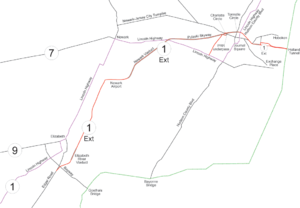 New Jersey Route 25 - A map of the Route 1 Extension