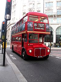 Routemaster London bus route 15 to Tower Hill.JPG
