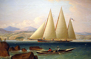 Bermuda sloop - 1831 painting of HMS Shamrock, a three-masted Bermuda sloop of the Royal Navy, entering a West Indies port.
