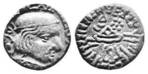 Devnimori - A coin of Rudrasimha II (305-313 CE), similar to the one discovered in the Devnimori stupa.