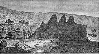 William Ellis (missionary) - Illustration of ruins South of Kailua-Kona from his journal