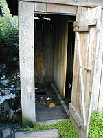 A Romanian outhouse with a hole opening over a cesspit