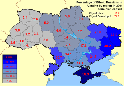according to the 2001 ukrainian census the percentage of russian population tends to be higher in the east and south in the country