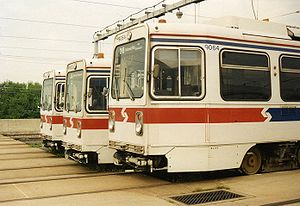 73rd Street station - Side view of a row of K-Cars at Elmwood Depot in 1993.