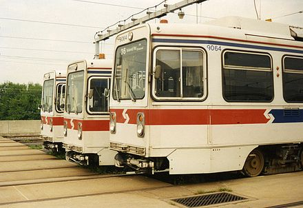 Single-end Kawasaki trolleys waiting in the yard in 1993 SEPTA LRVs at the maintenance facility, 1993.jpg