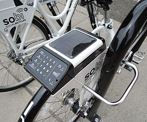 Telematics - Share bicycle with solar powered electronics to track and account for its usage