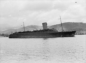 SS Pasteur (1938) - Pasteur in wartime on Convoy WS19
