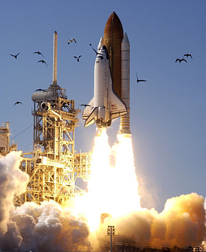 STS-110 - Space Shuttle Atlantis launches on STS-110, 8 April 2002