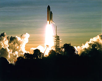Kennedy Space Center - Shuttle Discovery launching from Pad 39A on STS-60, February 3, 1994