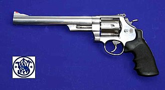"Smith & Wesson Model 29 - Smith & Wesson .44 Magnum Model 629 with 8⅜"" barrel: a stainless steel version of the Model 29."