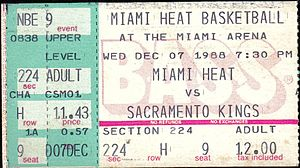 1988–89 Sacramento Kings season - A ticket for a December 1988 game between the Kings and the Miami Heat.