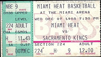 History of the Miami Heat - A ticket for a Dec. 1988 game between the Heat and the Sacramento Kings, the first time either team had ever faced each other in a regular season game.