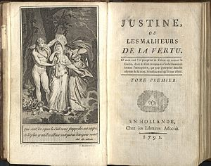 Firs page from Justine (Justine ou les malheur...