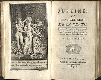 """Προμετωπίδα της δεύτερης έκδοσης του έργου """"Justine ou les malheurs de la vertu"""" το 1791"""