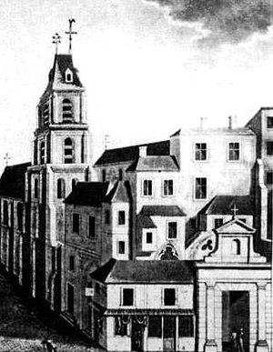 Saint-Étienne-des-Grès, Paris - An engraving of Saint-Étienne-des-Grès from before the French Revolution.