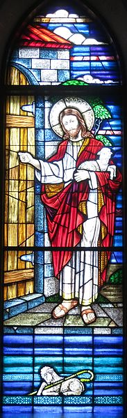 File:Saint Mary of the Presentation Catholic Church (Geneva, Indiana) - stained glass, Behold I Stand at the Door and Knock.jpg