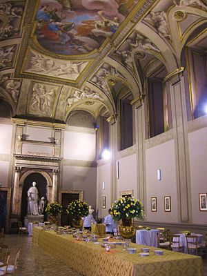 Sala Braschi, named after Pius VI (Giovanni Angelico Cardinal Braschi), Pope from 25 December 1717 to 29 August 1799. Residents recount that this is where Wolfgang Amadeus Mozart's father introduced him to prospective patrons in the Papal Court. Sala Braschi.JPG