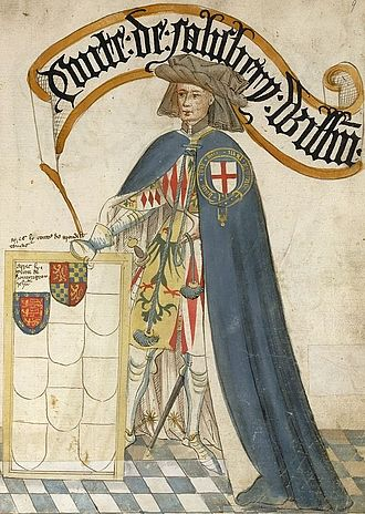 "William de Montagu, 2nd Earl of Salisbury - ""Conte de Salisbery, Will(ia)m"", William de Montagu, 2nd Earl of Salisbury, KG, illustration from the Bruges Garter Book, c.1430. The arms of Monthermer (Or, an eagle displayed vert beaked and membered gules) shown quartered by Montagu on his tabard are apparently incorrect, as it was his younger brother John de Montagu, 1st Baron Montagu (c. 1330 - c. 1390) who married the Monthermer heiress."