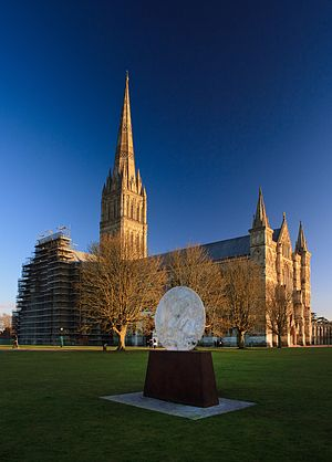 Emily Young - Lunar Disc I, at Salisbury Cathedral, England