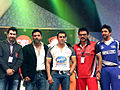 Salman Khan and Vengatesh at CCL match, India.jpg