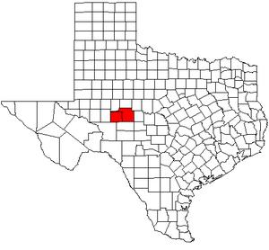 San Angelo, Texas metropolitan area - Map of Texas highlighting the San Angelo metropolitan area.