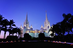 San Diego California Temple - San Diego Temple at twilight, 2008