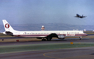 Minerve (airline) - A Douglas DC-8 of Minerve at San Francisco International Airport (1990)