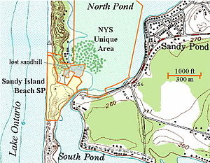 Topographic Map Ilrating The Boundaries Of Sandy Island Beach State Park Sp