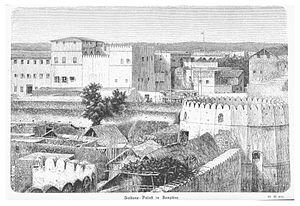 Stone Town - Sketch of Stone town showing the Old fort and Palace from 1871-1875