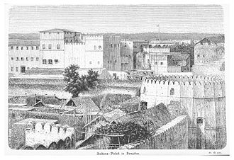 Stone Town - A sketch of stone town showing the old fort and palace from the year 1871 to the year 1875.