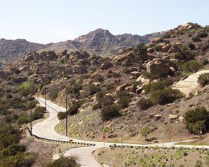 Santa Susana Pass - Santa Susana Pass Road looking west from Topanga Canyon Boulevard.