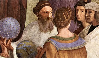 Ancient philosophy - Zarathustra as depicted in Raphael's The School of Athens beside Raphael who appears as the ancient painter Apelles of Kos.