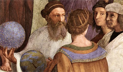 Zarathustra as depicted in Raphael's The School of Athens beside Raphael who appears as the ancient painter Apelles of Kos. Sanzio 01 Zoroaster Ptolmey.jpg