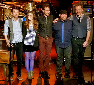 Sara Bareilles - Bareilles and her former band during her Kaleidoscope Heart Tour at the Warfield on December 16, 2010. Left to right: Javier Dunn, Bareilles, Philip Krohnengold, Josh Day, and Daniel Rhine.