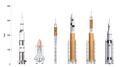 Saturn V-Shuttle-Ares I-Ares V-Ares IV-SLS Block I comparison.png