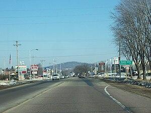 Sauk City, Wisconsin - Image: Sauk City Wisconsin Sign WIS60US12