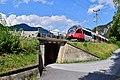 Scharnitz - Mittenwaldbahn - Brücke zw Scharnitz und Waaghütte mit S5 Richtung Innsbruck.jpg