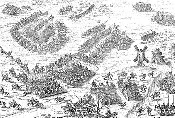 Batalla de Dreux en una ilustración contemporánea de Franz Hogenberg.