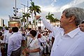 Secretary Kerry Waves to a Friend as he Enters a Plaza Outside the Cartagena Indias Convention (29663165780).jpg