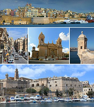 Senglea - From top: Skyline, typical street, Parish Church, Gardjola, Land Front