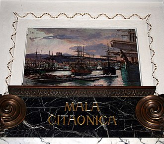 """Menci Clement Crnčić - """"Senj"""" by Menci Clement Crnčić is one of five oil paintings on display in the atrium of the Croatian State Archives in Zagreb"""