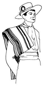 sketch of man wearing sarape
