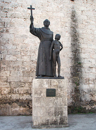Junípero Serra - Monument of Junípero Serra (with Juaneño Indian boy) on the Plaza de San Francisco de Asis in Havana, Cuba