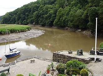 Calstock - Site of May's boatyard, on the River Tamar.