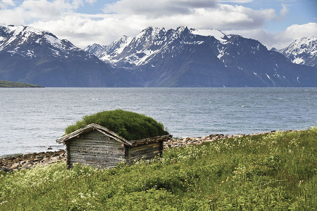 Shed with green roof at Lyngen fjord, 2012 June