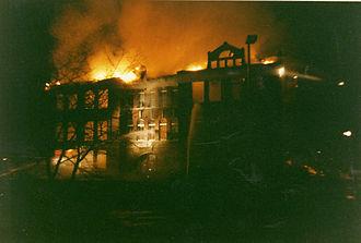 Sherzer Hall - Sherzer Hall fire in 1989