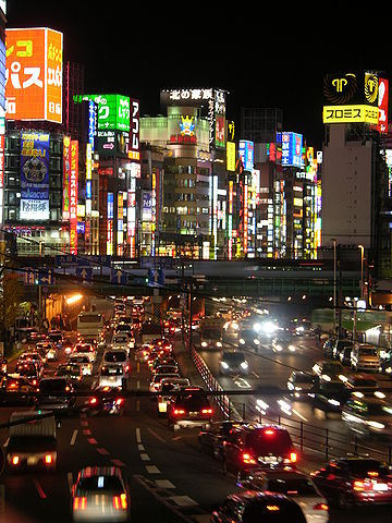 Shinjuku, Tokyo was the primary inspiration for Insomnia, capital of Lucis. ShinjukuStreet02.JPG