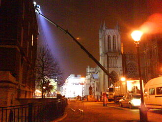 Being Human (UK TV series) - Lighting trucks at Being Human film shoot, College Green, Bristol
